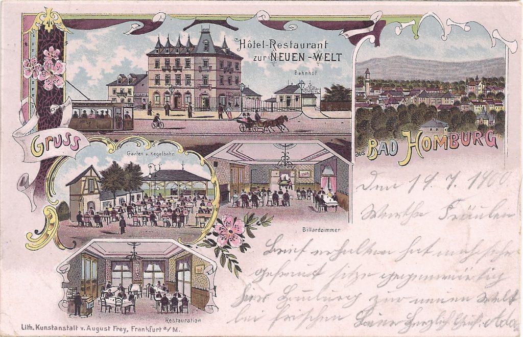Ansichtskarte vom Hotel-Restaurant zur Neuen Welt am alten Bahnhof