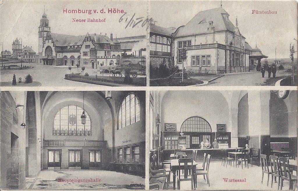 Mehrbild-Ansichtskarte vom Homburger Bahnhof