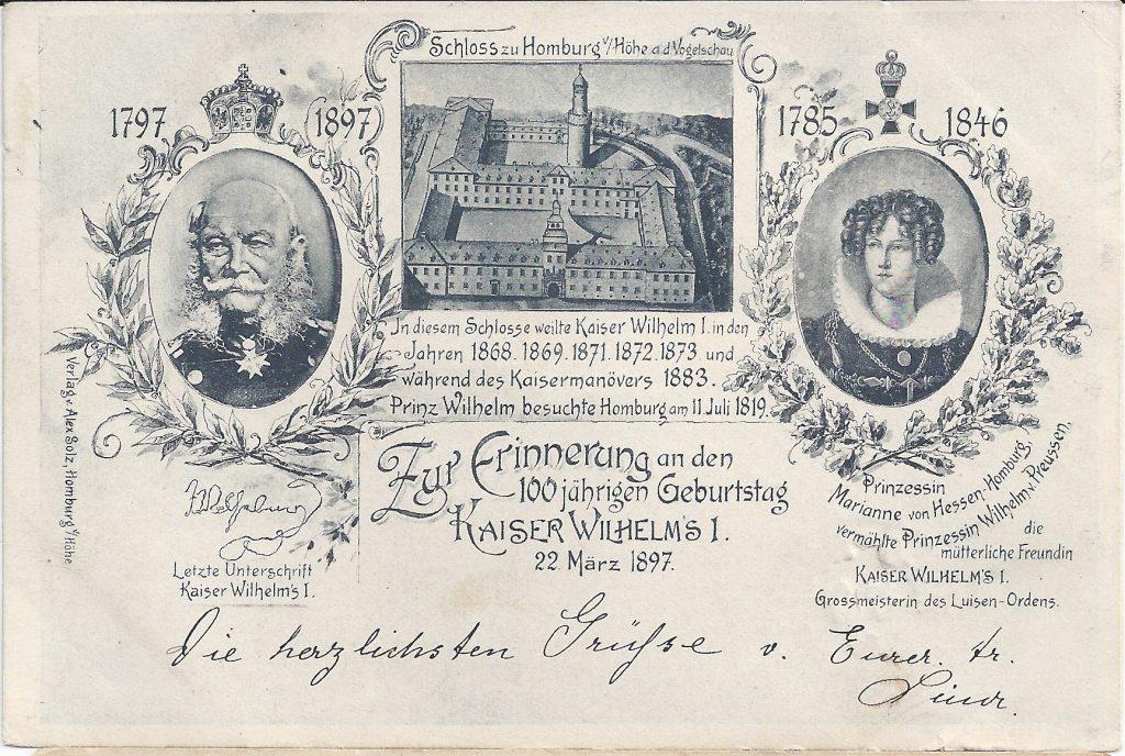 Ansichtkarte zum Geburtstag Kaiser Wilhelm I.