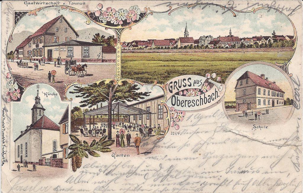 Alte Lithografie von Ober-Eschbach
